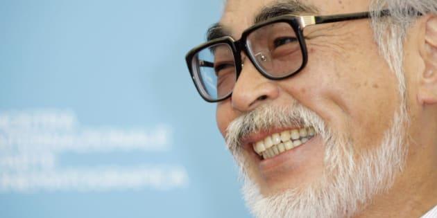 Filmmaker Hayao Miyazaki poses at the photo call for the movie 'Gake No Ue No Ponyo' at the 65th edition of the Venice Film Festival in Venice, Italy, Sunday, Aug. 31, 2008.  (AP Photo/Joel Ryan)