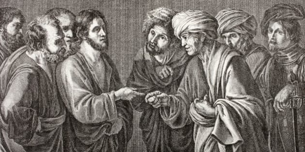 And Jesus Answering Said Unto Them, Render To Caesar The Things That Are Caesar's, And To God The Things That Are God's. And They Marvelled At Him. After A Work By Bartolomeo Manfredi. From Les Artes Au Moyen Age, Published Paris 1873. (Photo by: Universal History Archive/UIG via Getty Images)
