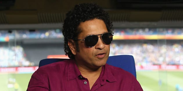 MELBOURNE, AUSTRALIA - FEBRUARY 22:  Sachin Tendulkar speaks to the media during the 2015 ICC Cricket World Cup match between South Africa and India at Melbourne Cricket Ground on February 22, 2015 in Melbourne, Australia.  (Photo by Quinn Rooney/Getty Images)