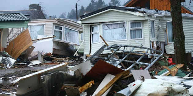 BALLATER, SCOTLAND - JANUARY 5 : Personal belongings and wrecked caravans at Ballater Caravan Park after the River Dee burst its banks and inundated the city with flood water on January 5, 2016 in Ballater, United Kingdom. Stormy weather continues to bring heavy rain fall and flooding to the north of England and Scotland, causing widespread disruption to transport and infrastructure. (Photo by Mark Runnacles/Getty Images)