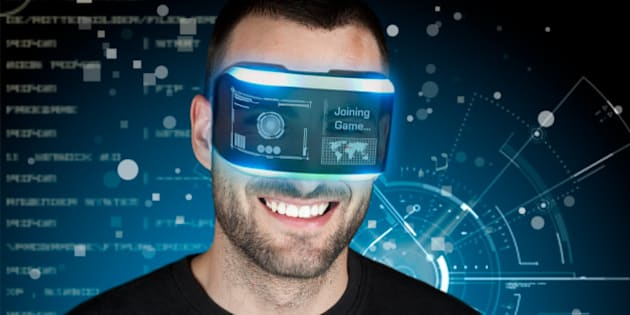 Man using a virtual reality headset for playing video games.
