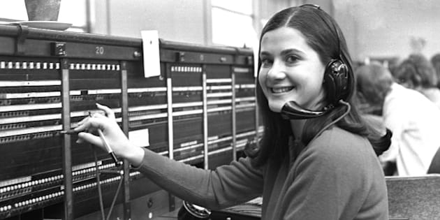 A switchboard operator at work in east London, circa 1970. (Photo by Steve Lewis/Getty Images)