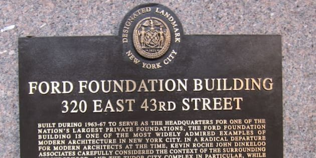 """NY Landmarks Preservation plaque for Ford Foundation Building, 320 East 43rd Street, New York, NY <a href=""""https://en.wikipedia.org/wiki/Ford_Foundation_Building"""" rel=""""nofollow"""">en.wikipedia.org/wiki/Ford_Foundation_Building</a>"""