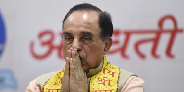 NEW DELHI, INDIA - JANUARY 9: BJP leader Subramanian Swamy during a seminar on the construction of Ram Temple in Ayodhya where he asserted that nothing will be done forcibly or against the law, at Delhi Universitys North Campus, on January 9, 2016 in New Delhi, India. Swamy also claimed former Prime Minister Rajiv Gandhi had supported the temple and asked the Congress to do the same. (Photo by Sonu Mehta/Hindustan Times via Getty Images)