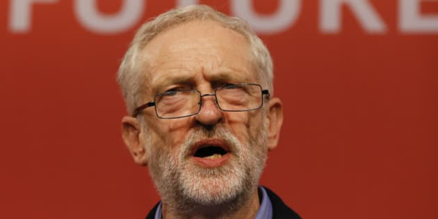 Jeremy Corbyn speaks on stage after he is announced as the new leader of The Labour Party during the Labour Party Leadership Conference in London, Saturday, Sept. 12, 2015. Corbyn will now lead Britain's main opposition party. (AP Photo/Kirsty Wigglesworth)