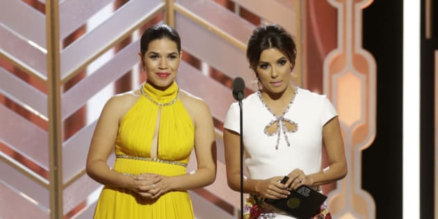 BEVERLY HILLS, CA - JANUARY 10: In this handout photo provided by NBCUniversal,  Presenters America Ferrera and Eva Longoria speak onstage during the 73rd Annual Golden Globe Awards at The Beverly Hilton Hotel on January 10, 2016 in Beverly Hills, California.  (Photo by Paul Drinkwater/NBCUniversal via Getty Images)