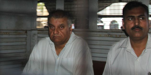 MUMBAI, INDIA - NOVEMBER 30: Peter Mukerjea, accused in Sheena Bora case, was produced at Esplanade court on November 30, 2015 in Mumbai, India. Special court extended the CBI custody of former media tycoon Peter Mukerjea, one of the four prime accused in the Sheena Bora murder case, by one day. (Photo by Bhushan Koyande/Hindustan Times via Getty Images)