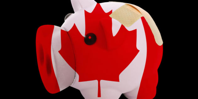 empty piggy rich bank in colors of national flag of canada on black background
