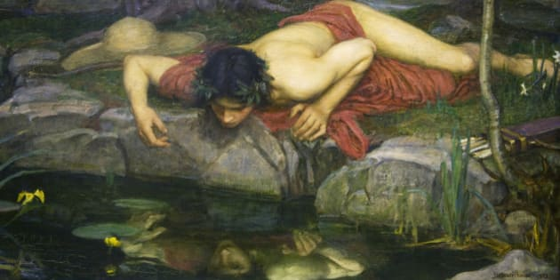 Echo and Narcissus by John William Waterhouse, fine art painting, 1904