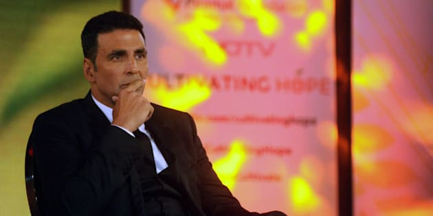 Indian Bollywood actor Akshay Kumar attends NDTV & Piramal Foundations launch of the campaign of 'Cultivating Hope' in Mumbai on December 15, 2015. AFP PHOTO/Sujit Jaiswal / AFP / SUJIT JAISWAL        (Photo credit should read SUJIT JAISWAL/AFP/Getty Images)