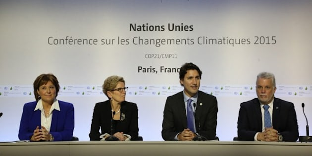 PARIS, FRANCE - NOVEMBER 30:   Justin Trudeau (2nd-R) prime minister of Canada speaks during a press conference at the 21st session of the conference COP21 on climate change on November 30, 2015 in Paris, France. More than 150 world leaders are meeting for the 21st session of the Conference of the Parties to the United Nations Framework Convention on Climate Change (COP21/CMP11, from November 30 to December 11.  (Photo by Patrick Aventurier/Getty Images)
