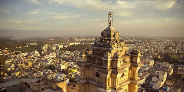Asia, India, Tamil Nadu, View of temple with Trichy City