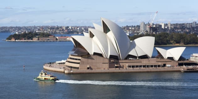 The distinctive Sydney Opera House , seen here from the Harbour Bridge walkway, is internationally recognised as one of the great architectural creations of the 20th century.