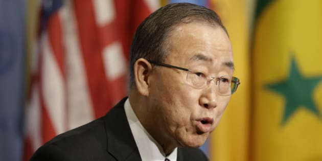 """United Nations Secretary-General Ban Ki-moon speaks to reporters before a Security Council meeting at U.N. headquarters, Wednesday, Jan. 6, 2016. North Korea trumpeted its first hydrogen bomb test Wednesday, a powerful, self-proclaimed """"H-bomb of justice"""" that would mark a major and unanticipated advance for its still-limited nuclear arsenal. Pyongyang's announcement was met with widespread skepticism, but whatever the North detonated in its fourth nuclear test, another round of tough international sanctions looms for the defiant, impoverished country.  (AP Photo/Seth Wenig)"""