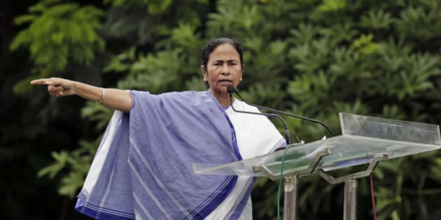 Chief Minister of West Bengal state Mamata Banerjee delivers a speech during a rally by student's wing of Trinamul Congress party in Kolkata, India, Friday, Aug. 28, 2015. (AP Photo/Bikas Das)