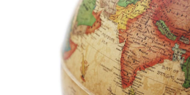 india on globe