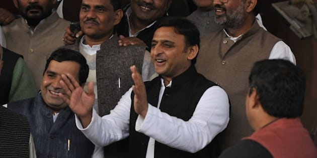 NEW DELHI, INDIA - DECEMBER 11: Uttar Pradesh Chief Minister Akhilesh Yadav during the winter session of Parliament, on December 11, 2015 in New Delhi, India. National Herald case against Sonia, Rahul Gandhi has given fresh ammunition to Congress to disrupt proceedings, delaying the GST and reforms agenda of the NDA. After a third consecutive day of disruptions in the Rajya Sabha, Prime Minister Narendra Modi hit back, saying the Congress was not only stalling the progress of the GST bill but also affecting the common man. (Photo by Vipin Kumar/Hindustan Times via Getty Images)