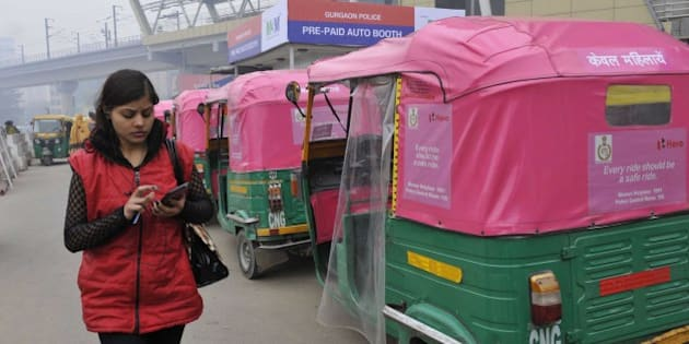 Gurgaon, India - January 1: Pink autos for women commuters which are yet to be launched but are ferrying passengers in the city, on January 1, 2015 in Gurgaon, India. Pink Auto service for women commuters was launched by Odisha Chief Minister Naveen Patnaik. (Photo by Sunil Saxena/Hindustan Times via Getty Images)