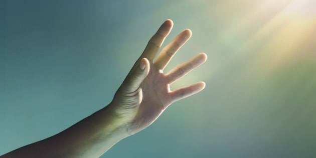 hand, reaching, glowing, light, glow, finger, fingers, blue, yellow, studio, studio background