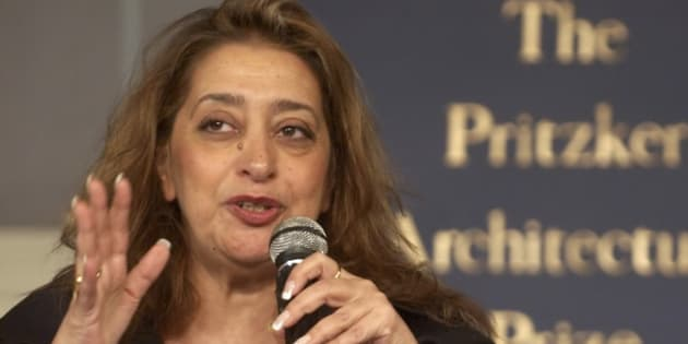 Iraqi-born architect Zaha Hadid, who became the first woman to receive the Pritzker Prize for architecture, speaks to the media in St. Petersburg, Monday, May 31, 2004.  The prize, architecture's most prestigious, US$100,000, was presented  Monday to Hadid at the Hermitage Museum. The 26-year-old prize holds its award ceremony every year at a different building of architectural renown.  (AP Photo/ Dmitry Lovetsky)