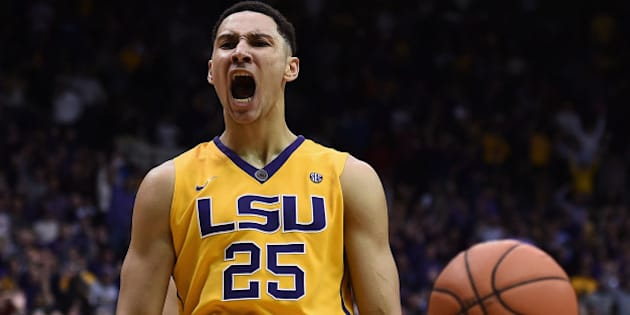 BATON ROUGE, LA - JANUARY 05:  Ben Simmons #25 of the LSU Tigers reacts to a dunk against the Kentucky Wildcats during the second half of a game at the Pete Maravich Assembly Center on January 5, 2016 in Baton Rouge, Louisiana.  LSU defeated Kentucky 85-67.  (Photo by Stacy Revere/Getty Images)