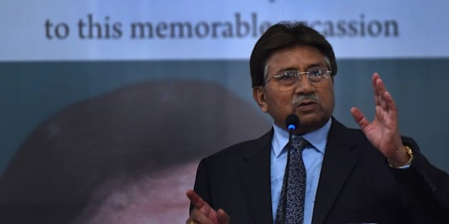 Former Pakistani president and military ruler, Pervez Musharraf addresses a youth parliament in Karachi on December 4, 2014. Musharraf gave a historical account of militancy in the country during his address.  AFP PHOTO/ Asif HASSAN        (Photo credit should read ASIF HASSAN/AFP/Getty Images)