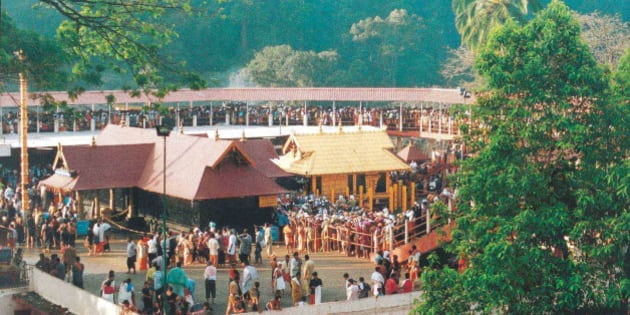INDIA - JULY 03:  Devotees thronging the temple, Lord Ayyappa of Sabarimala in Kerala, India  (Photo by Shankar/The India Today Group/Getty Images)