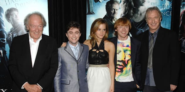 "From left, actors Michael Gambon, Daniel Radcliffe, Emma Watson, Rupert Grint and Alan Rickman attend the premiere of ""Harry Potter and the Half Blood Prince"", in New York, on Thursday, July 9, 2009. (AP Photo/Peter Kramer)"