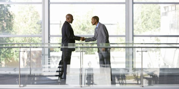 Business men shaking hands, Johannesburg, Gauteng, South Africa