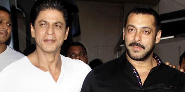 Indian Bollywood superstars Shah Rukh Khan (L) and Salman Khan pose during a promotional shoot at Mehboob Studio in Mumbai on December 8, 2015.  AFP PHOTO / AFP / STR        (Photo credit should read STR/AFP/Getty Images)