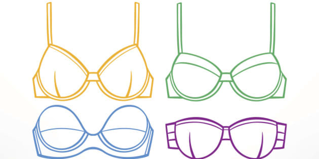 Set with women's underwear. Different colored bras