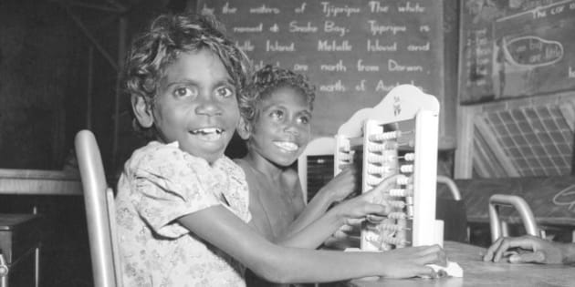 '  Alan Lambert trip around Australia. Melville Island. Alexandra and Jamie, students at the school at Snake Bay.  (Photo by Alan Lambert/The AGE/Fairfax Media via Getty Images)'