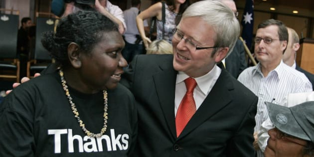 CANBERRA, AUSTRALIA - FEBRUARY 13: Australian Prime Minister Kevin Rudd meets with Raymattja Marika after delivering an apology to the Aboriginal people for injustices committed over two centuries of white settlement at the Australian Parliament on February 13, 2008 in Canberra, Australia. Rudd's apology referred to the 'past mistreatment' of all Aborigines, singling out the 'Stolen Generations', the tens of thousands of Aboriginal children taken from their families by governments between 1910 and the early 1970s, in a bid to assimilate them into white society. (Photo by Andrew Sheargold/Getty Images)