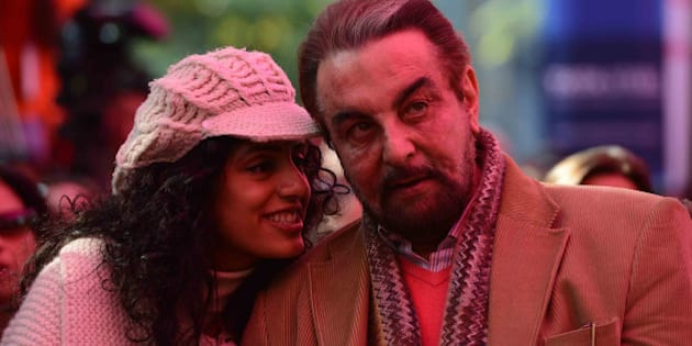 JAIPUR, INDIA - JANUARY 24: Kabir Bedi with his wife Parveen Dusanj during Jaipur Literature Festival in Jaipur. (Photo by Ramesh Sharma/India Today Group/Getty Images)