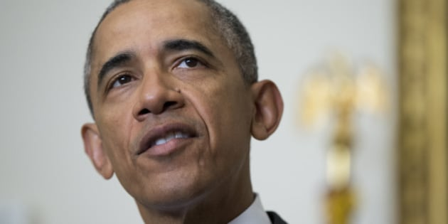 President Barack Obama makes a statement on the release of Americans by Iran, Sunday, Jan. 17, 2016, in the Cabinet Room of the White House in Washington. (AP Photo/Manuel Balce Ceneta)