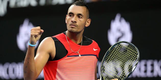 MELBOURNE, AUSTRALIA - JANUARY 18:  Nick Kyrgios of Australia celebrates winning a break point in his first round match against Pablo Carreno Busta of Spain during day one of the 2016 Australian Open at Melbourne Park on January 18, 2016 in Melbourne, Australia.  (Photo by Michael Dodge/Getty Images)