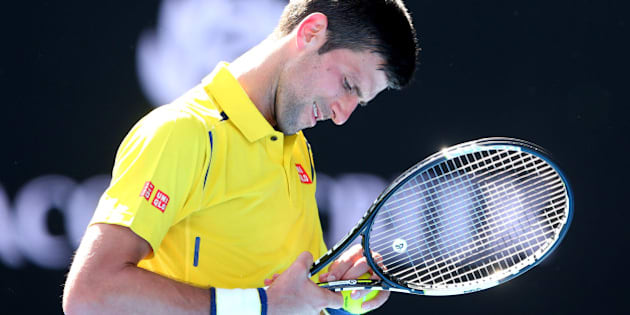 MELBOURNE, AUSTRALIA - JANUARY 18:  Novak Djokovic of Serbia reacts in his first round match against Hyeon Chung of Korea during day one of the 2016 Australian Open at Melbourne Park on January 18, 2016 in Melbourne, Australia.  (Photo by Quinn Rooney/Getty Images)