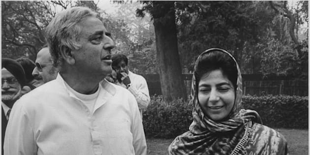 NEW DELHI, INDIA - DECEMBER 25: (Editor's Note: This image is from Hindustan Times Archives) Former Home Minister Mufti Mohammad Sayeed with his daughter Mehbooba Mufti at a Press Conference on December 25, 1996 in New Delhi, India. Chief Minister of Jammu and Kashmir Mufti Mohammad Sayeed died at All India Institute of Medical Sciences (AIIMS) on morning of January 7, 2016. The 79-year-old leader who founded the Jammu and Kashmir Peoples Democratic Party (PDP) had been admitted to the premier hospital in Delhi with complaints of severe fever and neck pain. (Photo by Santosh Gupta/Hindustan Times via Getty Images)