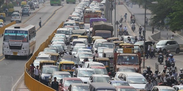 NEW DELHI, INDIA - OCTOBER 18: Heavy traffic jam at BRT stretch on October 18, 2010 in New Delhi, India. (Photo by Jasjeet Plaha/Hindustan Times)