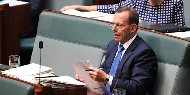 CANBERRA, AUSTRALIA - DECEMBER 03:  Tony Abbott during House of Representatives question time at Parliament House on December 3, 2015 in Canberra, Australia. Mr Brough is being investigated by the Australian Federal Police any involvement in getting former staffer James Ashby to obtain copies of then-speaker Peter Slipper's diary in 2012.  (Photo by Stefan Postles/Getty Images)
