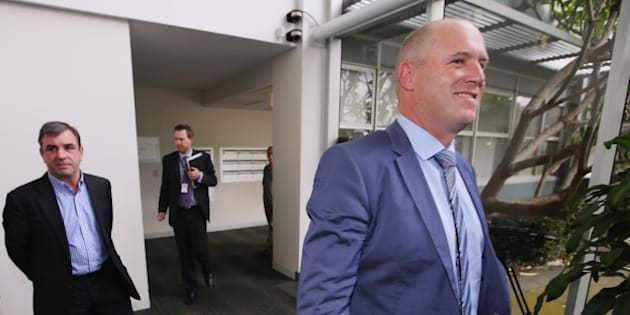 MELBOURNE, AUSTRALIA - JULY 29:  Horse Trainers Mark Kavanagh (L) and Danny O'Brien leave the Racing Victoria hearing at Racing Victoria HQ on July 29, 2015 in Melbourne, Australia. Racing Victoria issued show cause notices to trainers for alleged breaching of Australian Rules of Racing after horses were found with excess levels of cobalt.  (Photo by Michael Dodge/Getty Images)