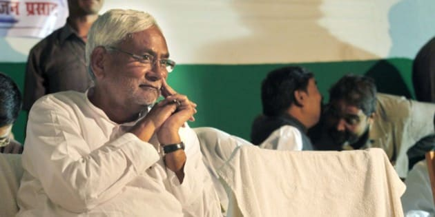 PATNA, INDIA - OCTOBER 24: Bihar Chief Minister Nitish Kumar during an election campaign, on October 24, 2015 in Patna, India. Kumar raised the issue of rise in price of pulses and poked fun at the Mr. Narendra Modi's promise of 'Achhe Din' (good days) to the people. (Photo by Arvind Yadav/Hindustan Times via Getty Images)