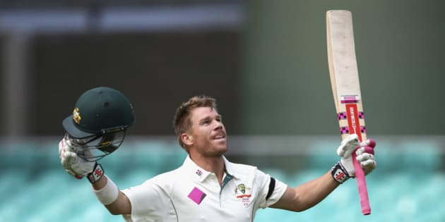 SYDNEY, AUSTRALIA - JANUARY 07:  David Warner of Australia celebrates after reaching his century during day five of the third Test match between Australia and the West Indies at Sydney Cricket Ground on January 7, 2016 in Sydney, Australia.  (Photo by Ryan Pierse - CA/Cricket Australia/Getty Images)