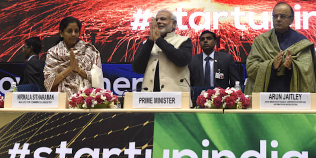 NEW DELHI, INDIA - JANUARY 16: Prime Minister Narendra Modi (C), Finance Minister Arun Jaitley (R) and Minister of States for Independent Charge Nirmala Sitharaman at the launch of Start-Up India at Vigyan Bhavan on January 16, 2016 in New Delhi, India. Indian Prime Minister launched a number of initiatives on Saturday to support the country's start-ups, including a 100 billion rupee ($1.5 billion) fund and a string of tax breaks for both the companies and their investors. (Photo by Mohd Zakir/Hindustan Times via Getty Images)