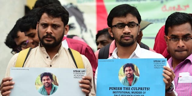 Members of the Students Christian Movement of India and other activists stage a protest in Bangalore following the suicide of Rohit Vemula, a doctarate student at the Hyderabad Central University, on January 19, 2016. Rohit, a second-year PhD student of Life Sciences was found hanging in his hostel room after he was suspended from the college due to a political dispute. AFP PHOTO/Manjunath KIRAN / AFP / MANJUNATH KIRAN        (Photo credit should read MANJUNATH KIRAN/AFP/Getty Images)