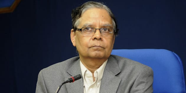 NEW DELHI, INDIA - JULY 15: Vice Chairman of Niti Aayog Arvind Panagariya during a press conference after the meeting of the Governing Council of NITI Aayog at Shashtri Bhawan on July 15, 2015 in New Delhi, India.  Nine Chief Ministers of Congress-ruled states besides those of West Bengal, Tamil Nadu, Uttar Pradesh and Odisha kept away from the meeting of NITI Aayog's Governing Council chaired by Modi expressing their opposition to proposed changes being brought by the government in the land acquisition bill in the coming session of Parliament. (Photo by Sonu Mehta/Hindustan Times via Getty Images)