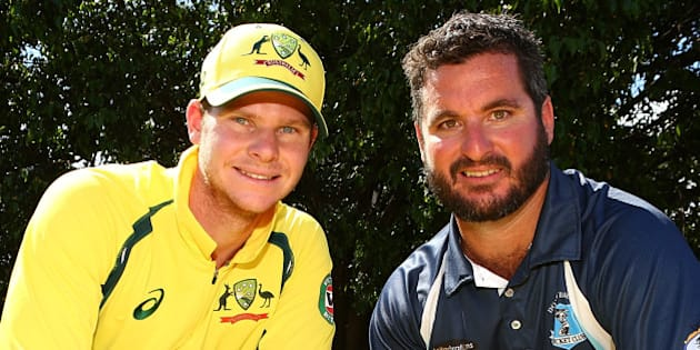 PERTH, AUSTRALIA - JANUARY 10:  Kurt Ramponi and Steven Smith pose during the Victoria Bitter ODI series launch at The Empire Bar on January 10, 2016 in Perth, Australia. Kurt Ramponi, representing his father Darrell Ramponi was presented a Victoria Bitter ODI series shirt featuring his name, as part of Victoria Bitter's Earn a Place in the Australian Cricket Team promotion.  (Photo by Paul Kane - CA/Cricket Australia/Getty Images)