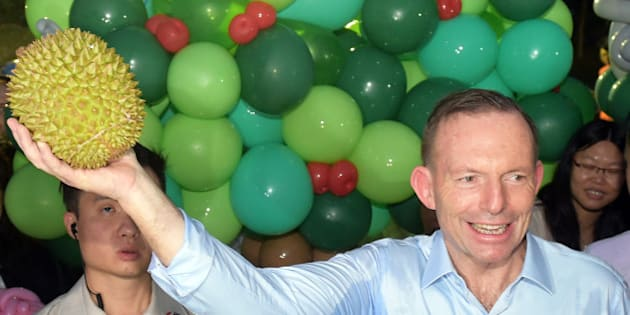 Australian Prime Minister Tony Abbott holds up a durian as he visits Singapore's Bishan Park on Sunday, June 28, 2015 in Singapore. (AP Photo/Joseph Nair)
