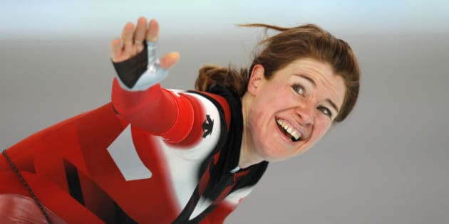 Canada's Clara Hughes reacts after the women's 5,000 meter speed skating race at the Richmond Olympic Oval at the Vancouver 2010 Olympics in Vancouver, British Columbia, Wednesday, Feb. 24, 2010. (AP Photo/Kevin Frayer)