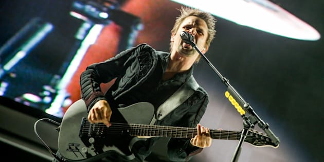 Matt Bellamy of Muse performs at the KROQ Weenie Roast at the Irvine Meadows Amphitheatre on Saturday, May 16, 2015, in Irvine, Calif. (Photo by Rich Fury/Invision/AP)